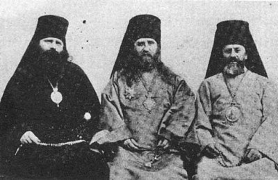 St. Tikhon (center) with Bishop Innocent and St. Raphael, circa 1905